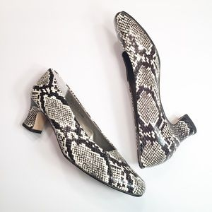 Ros Hommerson leather faux snakeskin heels